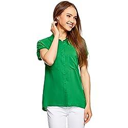 oodji Ultra Mujer Blusa de Viscosa con Bolsillos en el Pecho, Verde, ES 44 / XL