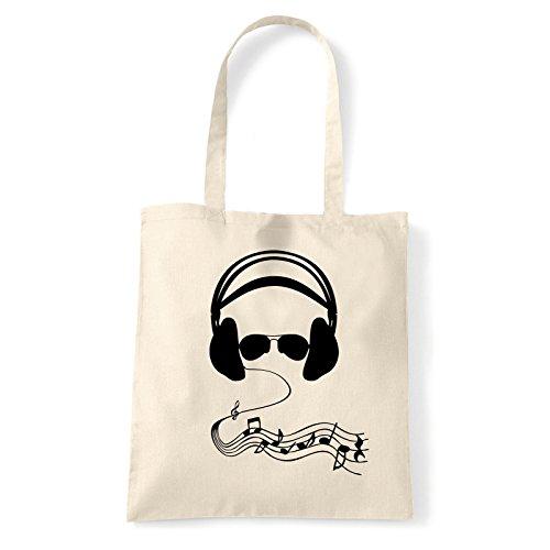 Art T-shirt, Borsa Shoulder cuffie-occhiali Natural