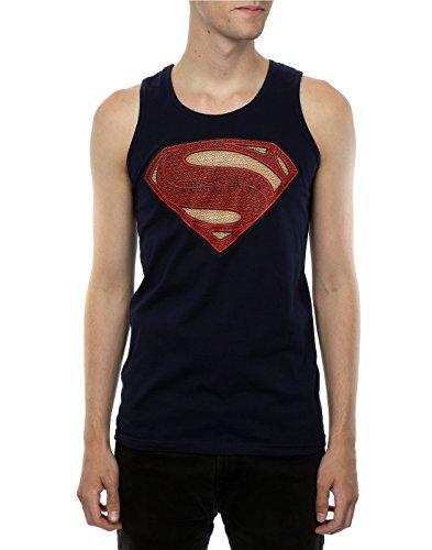 DC Comics Uomo Superman Man of Steel Logo Canotta Blu scuro