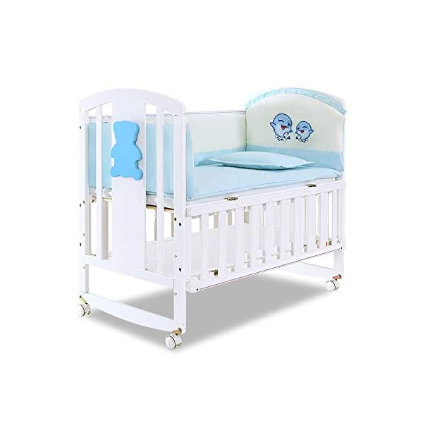 QINYUN Crib Solid Wood Multi-function Baby Cradle Bed Newborn Splicing Big Bed With Roller QINYUN 1. The crib is a safe, comfortable and easy to use bed that enhances the child's newly discovered independence. 2. Storage function - increase the storage space, convenient for the treasure mother to store the baby toy splicing storage board, and it is more convenient to change the table later. 3. It can give the baby enough security and let the baby enjoy a comfortable sleep. You don't have to worry about your baby's sleep quality anymore. 1