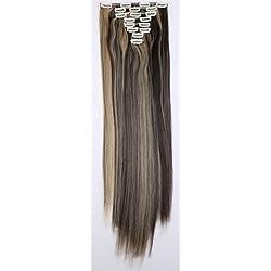 Rajout Extension a Clip 8 Bandes - Extensions Cheveux Clips Lisse - Clip in Hair Extensions - 66cm(26 pouces) - Marron foncé/Blond cendré