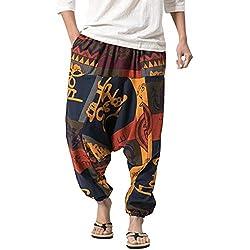 besbomig Pantalones Bombacho Hombre Mujer Unisex Harén Aladdin Hippy Pantalones Baggy Hippie Boho Yoga Wideleg Pantalones para Hombres