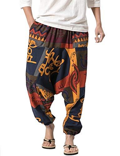 besbomig Herren Hippie GOA Haremshose Sarouel Aladinhose Pumphose Pluderhose Drop Crotch Baggy Aladin Rose Thai Fischerhose