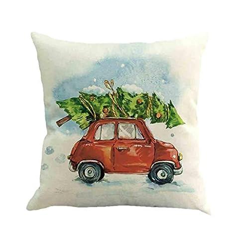 Christmas Taie d'oreiller ,Moonuy Arbre de Noël lin carré jeter coussin Housse coussin décoratif Sofa de taille de jet de couverture de coussin à la maison décor, 45 cm * 45 cm (a)