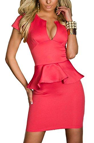 Boliyda Sexy Sexi Sommer Bodycan Low Cut V-Ausschnitt flounce Slim Club Kleid Clubwear Partywear Casual Daily Kleid für Damen Damen Dame Red 2XL Größe (Party Kleid Nacht)