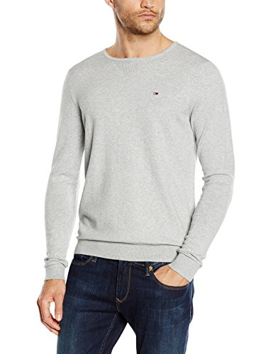 hilfiger-denim-original-crew-neck-pull-homme-gris-gris-clair-pale-x-small