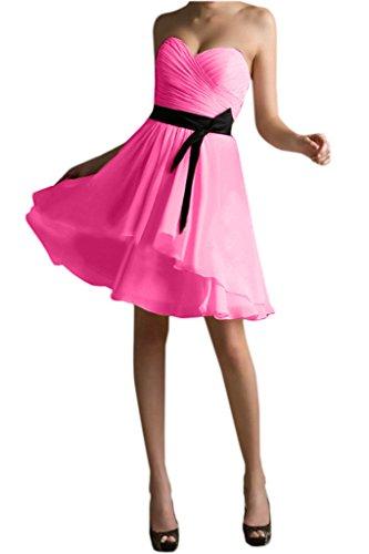 Victory Bridal Herrlich Traegerlos Cocktailkleider Abendkleider Partykleider Kurz Chiffon Neu 2015 Pink