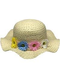 HhGold 3PCS versión Coreana Sombrero de Paja de los niños Flores Hechas a  Mano del Verano Sombrero del bebé Borde de la Onda Sombrero… 21d3d6245638