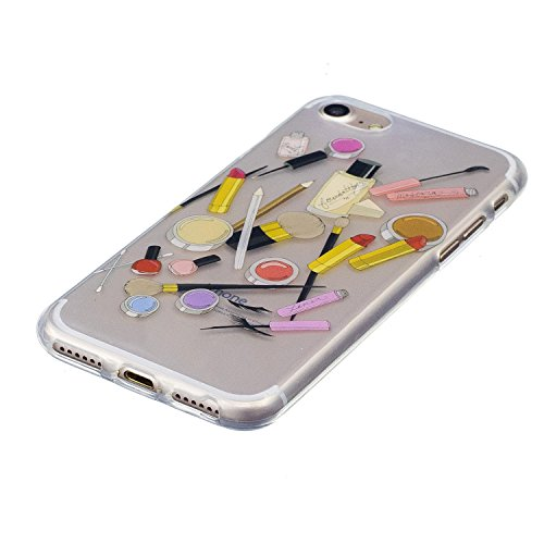 "iPhone 7 4,7"" Silikon Handyhülle, Silikon Hülle für iPhone 7 (4,7 zoll) ,Edaroo Cute Fun LustigKaktusMotiv Bunte Malerei Ultra Slim Dünn Klar durchsichtig Transparent Weich Silikon Gummi TPU Gel Schut Cosmetics"