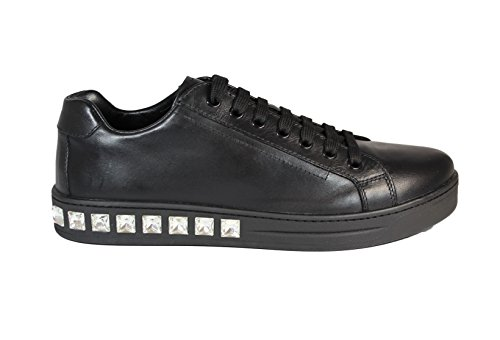 1E246GNERO Prada Sneakers Femme Cuir Noir Noir