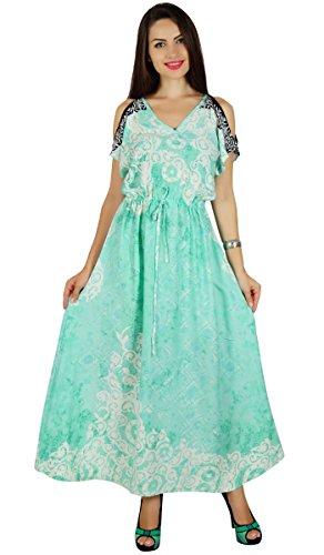 Bimba les casual robe maxi à froid épaule cordon de serrage boho chic de d'été Menthe
