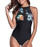 SANFASHION Damen Einteiler Blume Schlüsselloch Netzartiger Monokini Kreuz Rückseite Druck Bikini Push-up Swimsuit