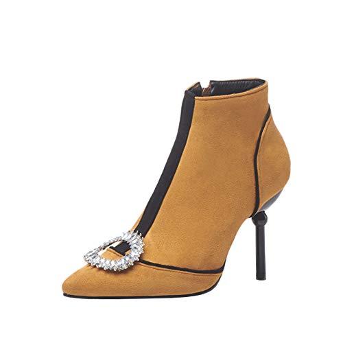 Y2Y Studio Femmes Bottines Nubuck avec Strass Brillant de Punke Thin Heels Talons Aiguilles Elégants 9cm Bout Pointu Sexy avec Fermeture Eclair Zip Shoes Autumn