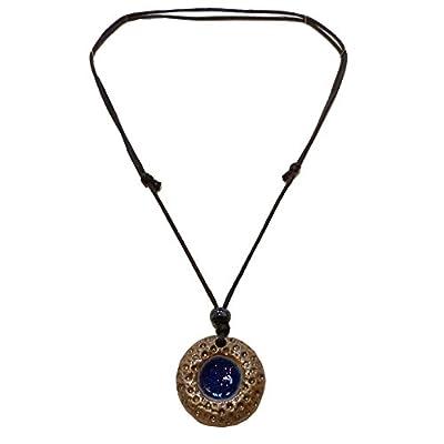 Collier réglable ras de cou ou long pendentif porcelaine terre cuite au choix terre cuite couleurs vert, marron, bleu, orange rond donut ou lune hippie aucun métal