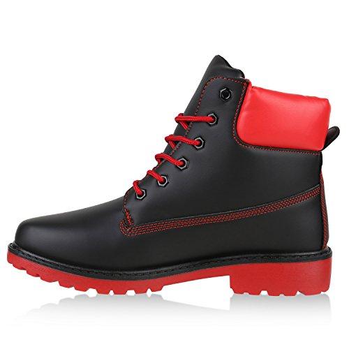 UNISEX Damen Herren Worker Boots Profil Sohle Stiefeletten Outdoor Schuhe Schwarz Rot