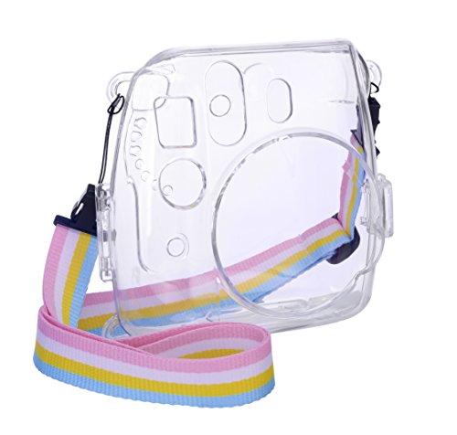 Goocor Kristall Kameratasche mit Verstellbarem Regenbogen Schultergurt und Objektivtuch für Fujifilm Instax Mini 9 / Mini 8 / Mini 8+ Instant Kamera - Transparent