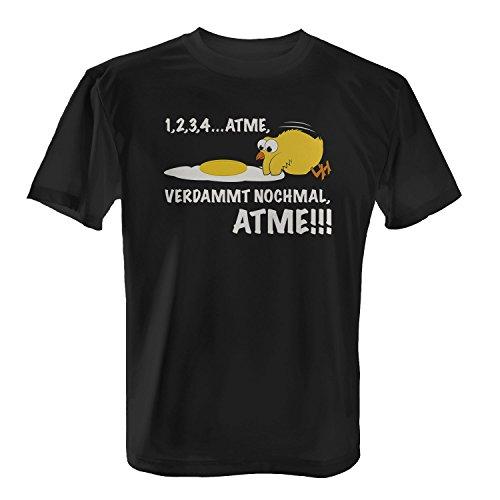Atme, verdammt nochmal, atme! - Herren T-Shirt von Fashionalarm   Fun Shirt Spruch Spaß Küken Eier Tiere, Farbe:schwarz;Größe:L -