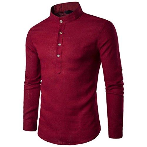 Langarm Männer Herren T-Shirts Stehen Hals Leinen Tops Bluse,Rot,S