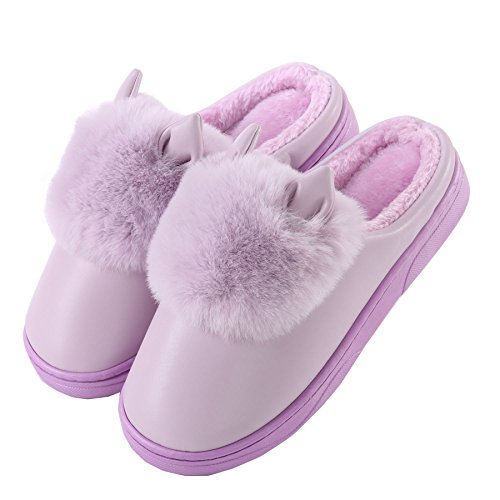 PU oreilles de chat mignon coton pantoufles à domicile-Unisexe hiver chaud peluche chaussures bootie Violet