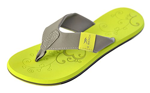 MADSea Damen Zehenstegpantolette Beach Woman Zehentrenner Sandale gelb hellgrau, Größe:39 EU