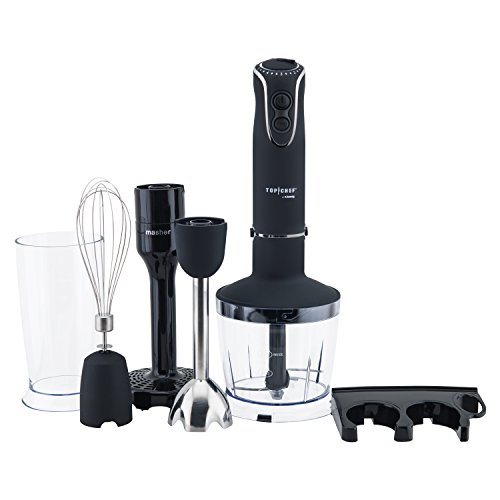 Top Chef Mixeur Plongeant à main 4 en 1 Inox 850W TOPC448, Hand blender 4 Fonctions, Turbo 5 vitesses, Multifonctions hachoir batteur mixer fouet, mélangeur, moulinet, soupe&purée, Ergonomique
