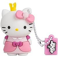 Tribe Hello Kitty Princess - Memoria USB 2.0 de 8 GB Pendrive Flash Drive de goma con llavero, color rosa