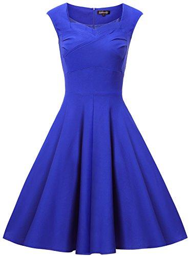 Gigileer Elegante 50er Damen Swing Kleider festliche Cocktail Hochzeit Abendkleid Knielang Blau (Dot Polka Plus Kleid Size)