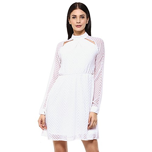 Femella Fashion's White Dobby Cut Out Dress