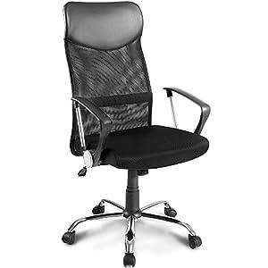 Merax Bürostuhl Schreibtischstuhl Bürodrehstuhl Ergonomischer Design Chefsessel mit Kopfstütze, Netzrücken/Wippfunktion/Feste Armlehne/Höhenverstellbar