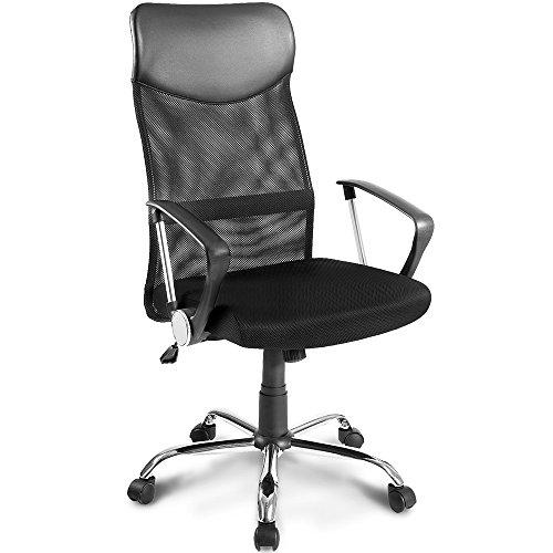 Merax Bürostuhl Schreibtischstuhl Bürodrehstuhl Schwarz Design Ergonomischer Chefsessel mit Kopfstütze, Netzrücken/Wippfunktion/feste Armlehne/Höhenverstellbar