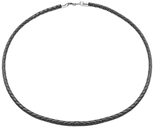 Tribal Steel Halskette aus schwarzem Leder, mit Karabiner, 55,8cm lang