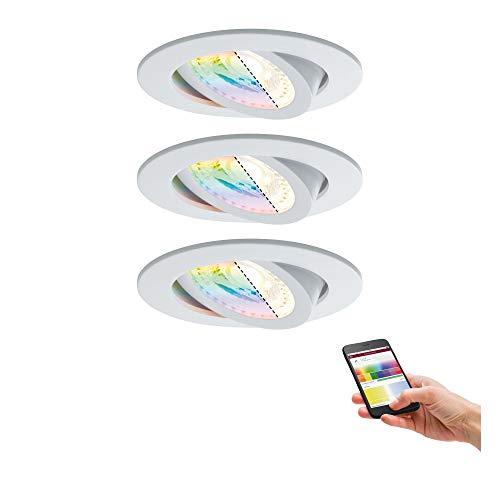 Paulmann 500.65 Smarthome Zigbee Lens LED Einbauleuchten 3er-Set RGBW schwenkbar Weiss matt 50065 - Amazon Plus kompatibel