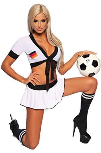 Cheerleader-Kostüm,Girls Cheerleading Uniform Set Sexy Nightclub Football Basketball Music Apparel Competition Dance Performance, C, One Size