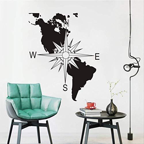 hzcl Wandtattoo,Compass Vinyl Wall Decal America Continent Map Wall Art Mural Navigation Compass Wall Sticker Home Decoration Wall Poster