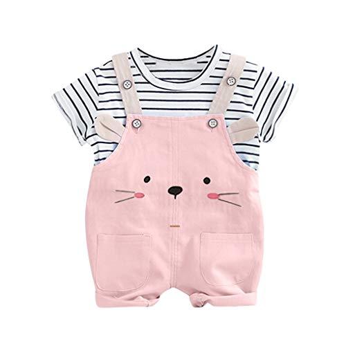 Pwtchenty 2 Stücke Infant Kleinkind Baby Jungen Mädchen Streifen Druck Tops + Hosen Cartoon Panda Print Shorts Outfits Kleidung Set