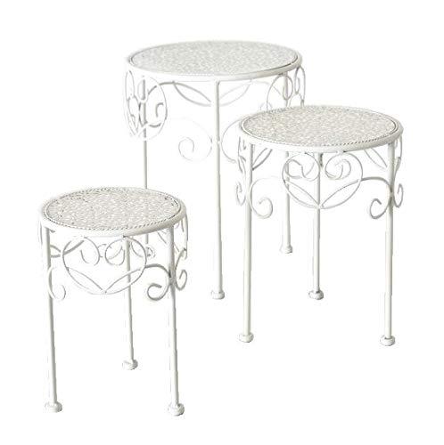 Meinposten. Beistelltisch weiß Metall Telefontisch Pflanzentisch Blumenständer Tisch niedrig (Mittel 33 cm)