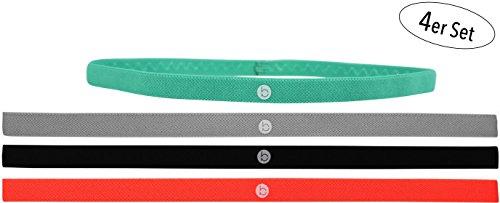 b-sports Sport-Haarband-Set mit Antirutsch Silikonstreifen l Sportband l Stirnband l Damen l Herren l Mint-Grün l Orange l Schwarz l Grau l 4 Stück l sportlich & stylisch