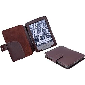 TeckNet® NEW Kindle 4 Premium Folio Case / Cover With Magnetic Clasp for NEW Amazon Kindle 4 / 6 inch / 2011 generation / Book Style - Includes Kindle Rear Protector - Brown