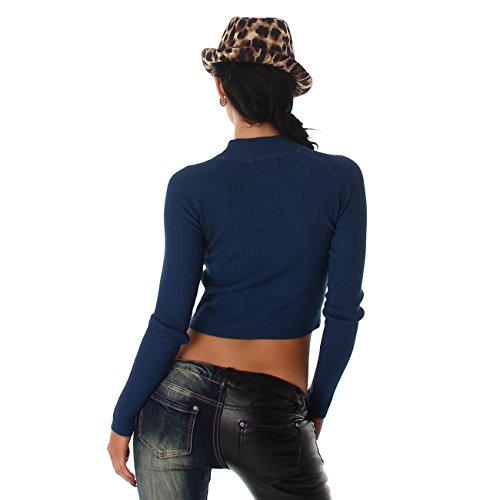 Jela London Damen Pullover Sweat Pulli Bauchfrei Shirt Feinstrick Rollkragen-Ausschnitt Feinripp Langarm Petrol