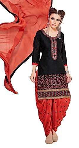 Shalibhadra black color top with orange color duppata and orange color salwar cotton unstitched fully heavy Embroidered work patiala suit pataliya dress material for women