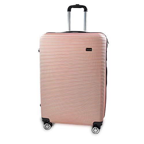 XL Koffer Reisekoffer Trolley Rollkoffer Reisekoffer Handgepäck 4 Rollen Alu Design Gepäck leicht & Stabil   Pin Rosa Gold XL