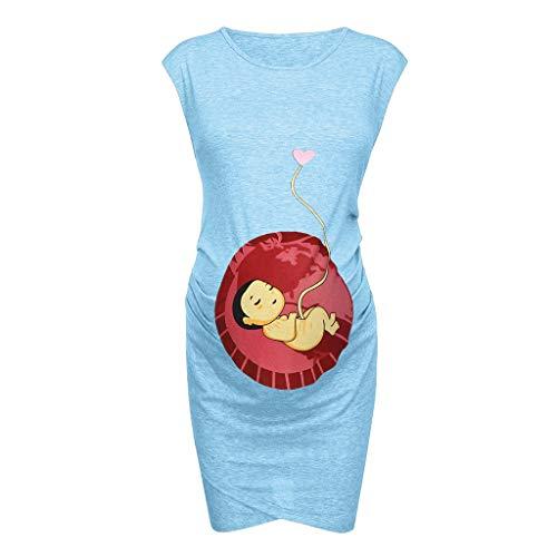 FRAUIT Camicia Donna Lunga A Vestitino Elegante con Stampa Vestiti Donna Gravidanza Divertenti Vestito Eleganti Premaman Abiti per Foto maternità Mini Abito Premaman