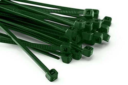 200 Stück Kabelbinder 100mmx2,5mm für Schattiernetz Zaunblende Zaun in grün (Führen Grün)