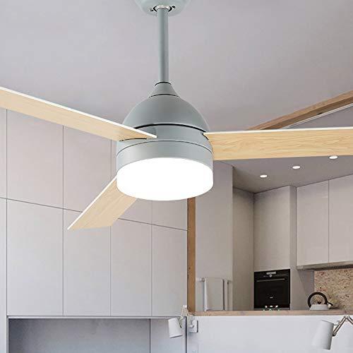 Deckenlüfterleuchte mit LED-Licht und Fernbedienung, Lüfterflügel aus Aluminium, 42 Zoll / 48 Zoll, dimmbar [Energiestufe A +]-grey-107CM (Remote Control Light Bulb Farben)