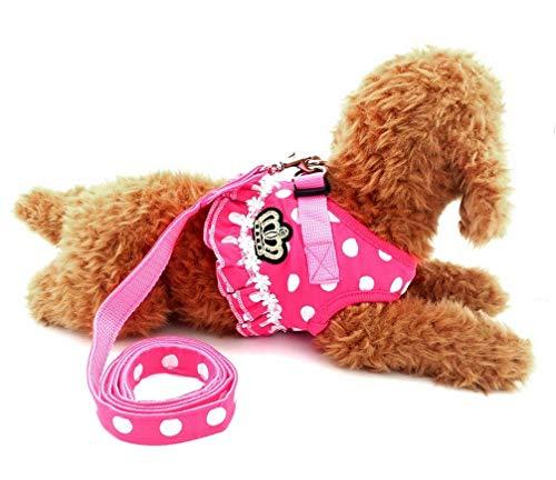 Keine Pull Polka Dot Weste Geschirr Leine Set Soft Mesh Gepolsterte Leine für kleine Hund Katze Haustier Geschirr Verstellbare Zubehör YAWJ (Color : Pink, Size : XL) -