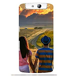 Printvisa Potrait Of A Love Couple Back Case Cover for Oppo N1