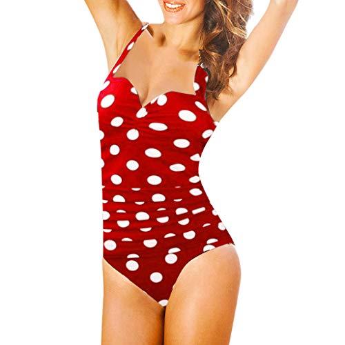 Mujer Traje de Baño Estampado de Lunares Push Up Bañador Bikinis Trajes de baño de una Pieza para Mujer