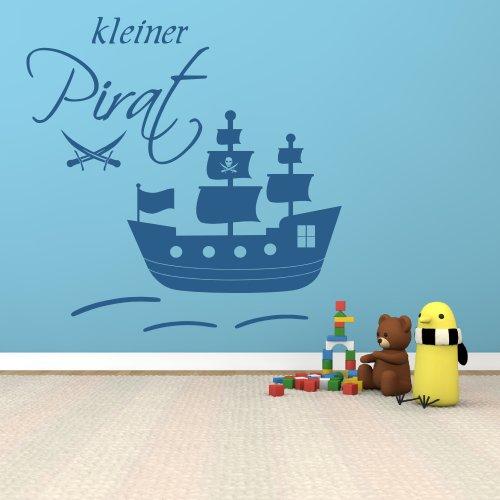 XXL Wandtattoo 68163-100×100 cm, ~ Kleiner Pirat, großes Piratenschiff mit Säbeln ~ fürs Kinderzimmer, Jungen Wandaufkleber Wandtatoos Sticker Aufkleber für die Wand, Fensterbild, Tapetensticker,
