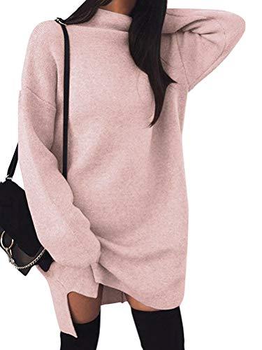Minetom Damen Pullover Kleider Mode Minikleid Winterkleider Strickkleider Langarm Warm Oversize Stricksweat Strickpullover Lose Sweatkleid Rosa DE 36 - Elastisches Strickkleid
