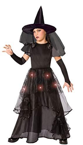 Karneval-Klamotten Hexen Kostüm Mädchen Leuchtend mit Licht Halloween Kinder-Kostüm Größe 140-152 (Licht Halloween Kostüme)
